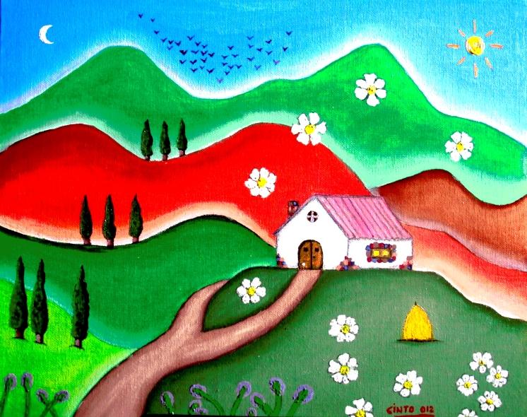 Oleo de casa con flores, montañas, sol, pájaros,....