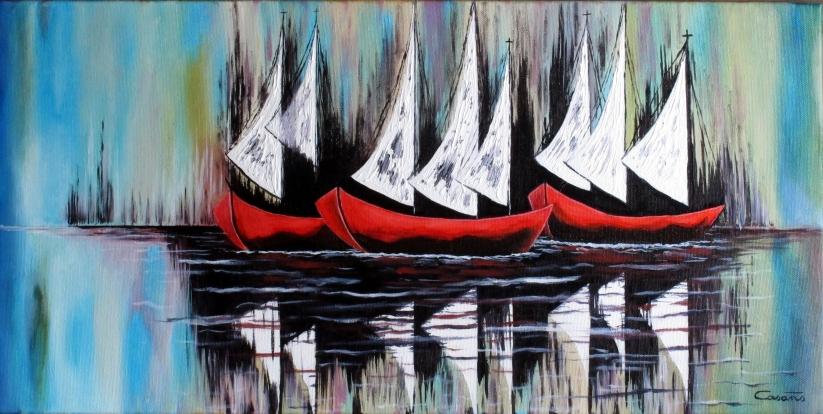 Oleo de barcas de vela