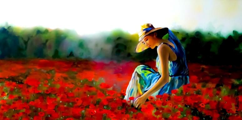 Dama con flores